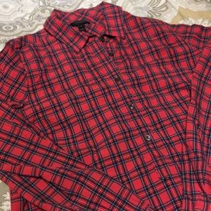 Red J Crew Tartan Plaid Button up Pullover